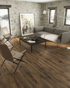 Basix Engineered Click Narrow Oak Milk Chocolate Matt Lacquered 4V Bevelled 130mm 5G Click BF44 Engineered Wood Flooring