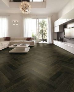 Tuscan Modelli Smoked Oak & Black Stained TF30 Herringbone Engineered Wood Flooring