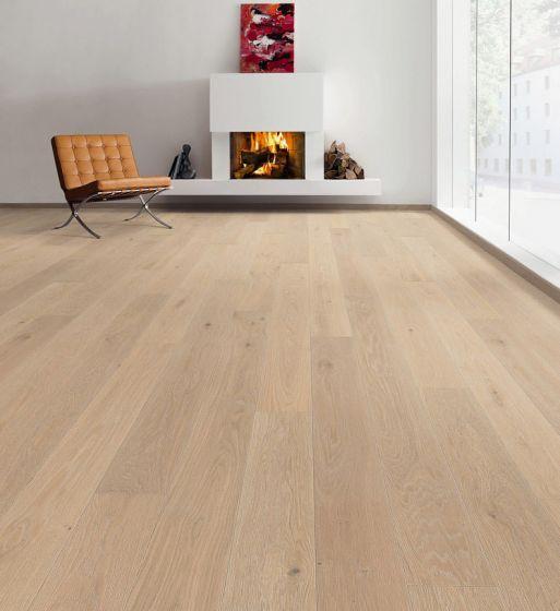 HARO PARQUET 4000 Plank 1-Strip 4V Oak Creme White limewashed Markant Brushed naturaLin plus 535538 Engineered Flooring