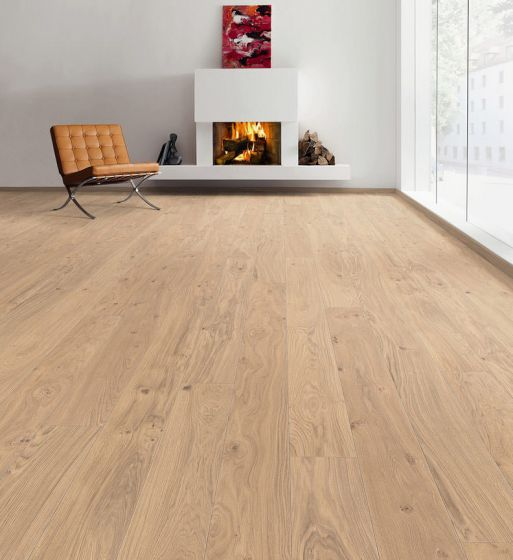 HARO PARQUET 4000 Plank 1-Strip V Oak Puro White Markant Brushed naturaLin plus 527326 Engineered Flooring