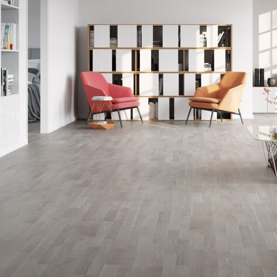 Explora Engineered 3 Strip Grey Oak Washed Brushed & UV Matt Lacquered BF16 Engineered Flooring