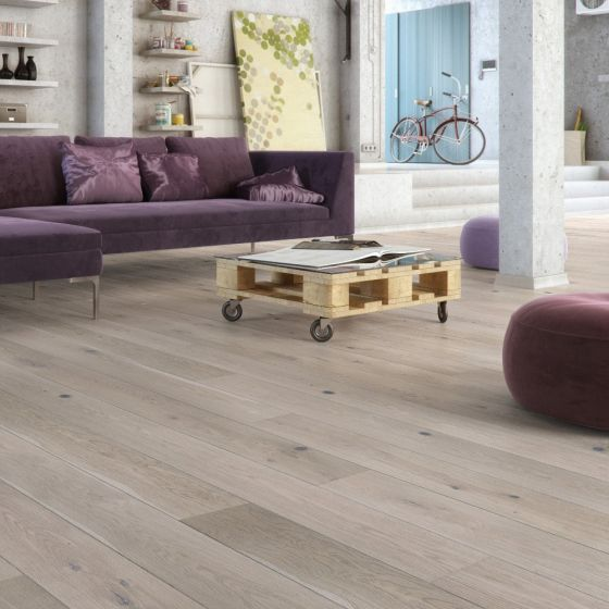 Basix Engineered Click Narrow Oak Alaska White Matt Lacquered 4V Bevelled 130mm 5G Click BF42 Engineered Wood Flooring