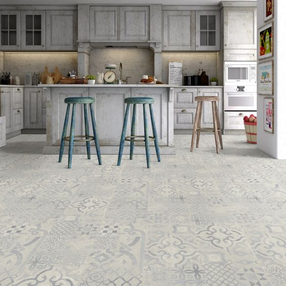 FAUS Retro Blue Tiles S177161 8mm AC6 Laminate Flooring
