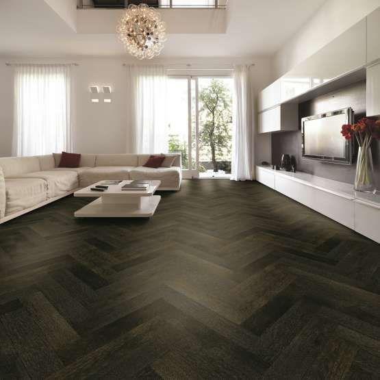 Tuscan Modelli Smoked Oak & Black Stained TF30 Herringbone Engineered Wood Flooring